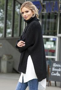 Чёрный симметричный свитер oversize Fobya F551