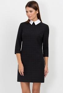Чёрное платье с белым воротником PL-409/milada