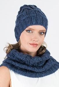 Удлиненная женская шапка джинсового цвета Kamea Trini