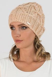 Удлиненная женская шапка бежевого цвета цвета Kamea Trini