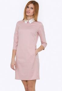 Розовое платье с белым воротничком Emka PL-440/batilda