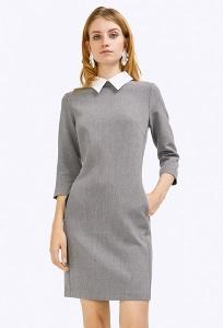 Стильное платье с воротничком Emka PL440/dove