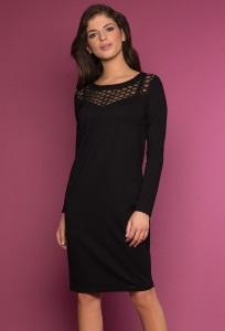 Чёрное трикотажное платье с кружевным верхом Zaps Imir