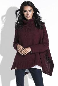 Свободный женский свитер бордового цвета Fobya F455