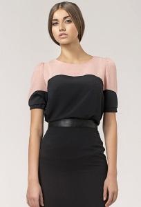 Чёрно-розовая блузка Nife B25
