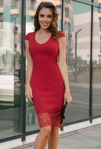 Брусничное платье с кружевным низом Donna Saggia DSP-265-34t