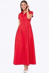 Красное длинное платье-рубашка Emka PL-622/ataliya