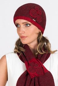 Женская шапка с красным твидовым узором Kamea Silvia