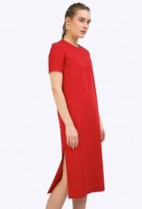 Красное платье с высокими разрезами по бокам Emka PL514/picasso