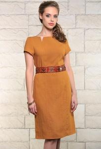 Льняное платье горчичного цвета Issi 171531