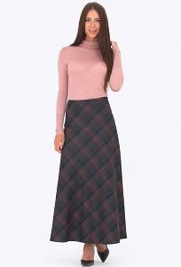 Длинная юбка в клетку Emka Fashion 314-karmelita