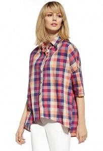 Летняя блузка с рукавом 3/4 в клетку Enny 230110