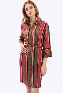 Платье-рубаха с фигурным подолом Emka PL680/pumpkin