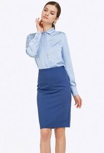 Синяя юбка-карандаш с подкладкой Emka S663/selvi
