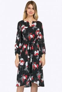 Чёрное летнее платье с ярким цветочным принтом Emka PL834/artiste