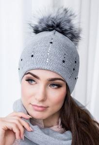 Женская шапка с помпон Veilo 70.20S