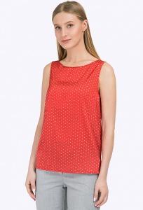 Красный женский топ в белый горох Emka Fashion B2335/rouge