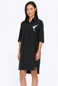 Чёрное хлопковое платье-рубашка Emka PL680/amico