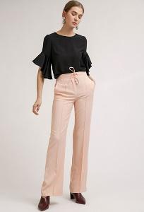 Широкие брюки персикового цвета Emka D139/tonya