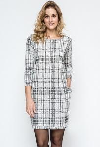 Трикотажное платье в светло-серую клетку Enny 240122