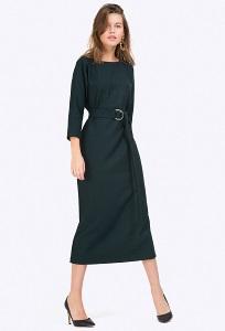 Тёмно-зелёное платье-миди с рукавами Emka PL698/guatemala