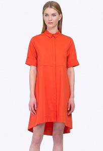 Летнее оранжевое платье с асимметричным низом Emka PL592/gato