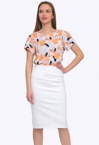 Женская классическая юбка белого цвета Emka S605/sevana