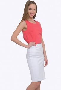 Белая летняя юбка для офиса Emka S663/sevana