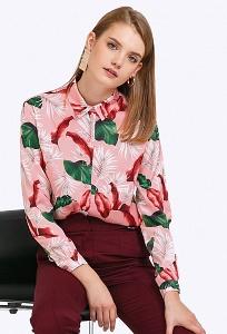 Классическая розовая блузка с длинными рукавами Emka B2224/lamale