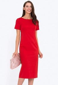 Красное платье-футляр с коротким рукавом Emka PL-589/aglaya