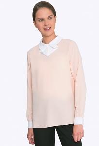Персиковая блузка с белым воротником Emka b 2262/olimpiya