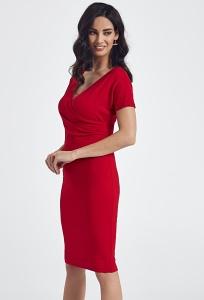 Красное платье из фактурного трикотажа Enny 250082