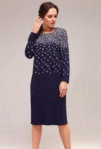 Платье из тёмно-синей фактурной ткани TopDesign B7 025