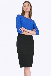 Чёрная юбка-карандаш с пряжкой на поясе Emka S719/djolin