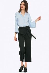 Чёрные брюки-кюлоты с бантом Emka D078/djolin