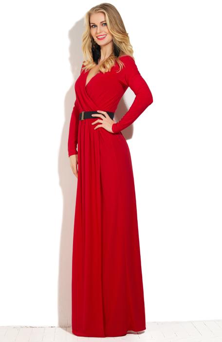 Красное платье в пол на запах