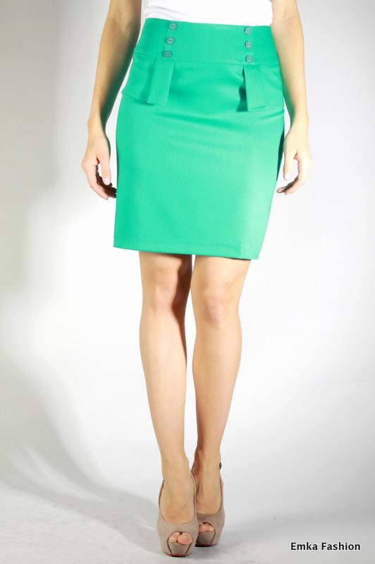 Зеленая юбка с баска