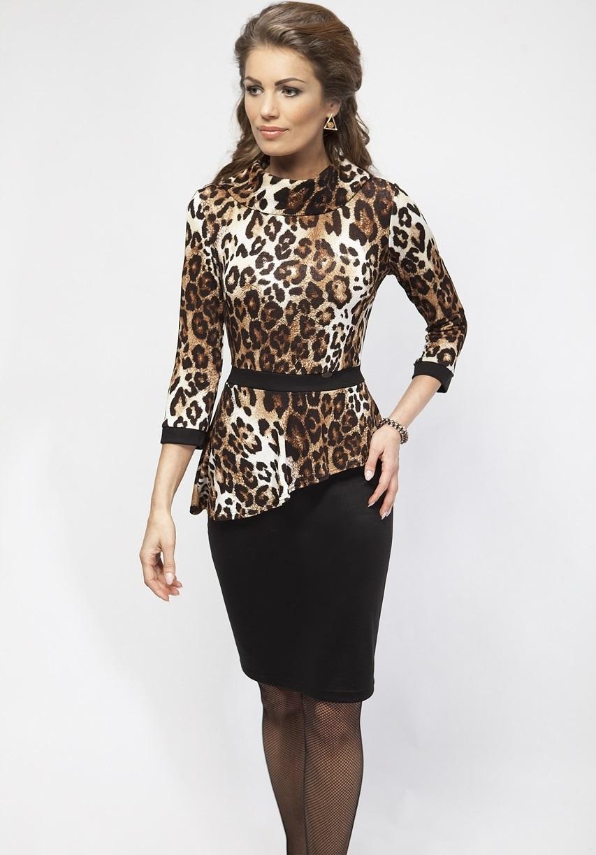Платье леопардовое черный верх