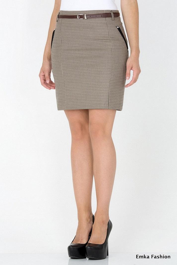 Черная юбка прямая короткая