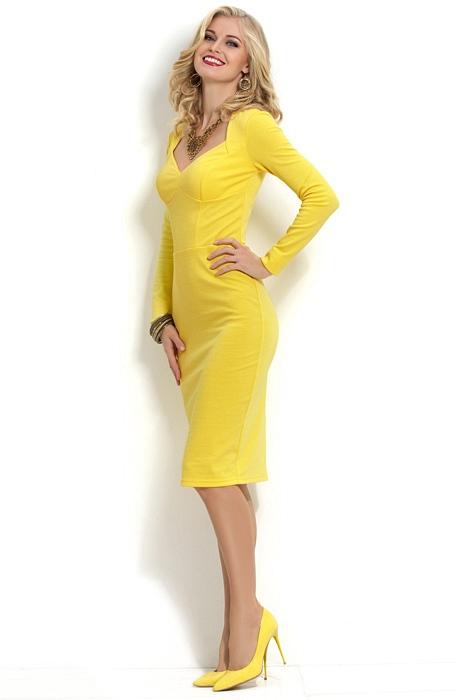 Черное желтое платье