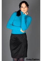 Женская юбка прямого силуэта с необычной драпировкой.  Имитация запаха.