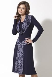 Темно-синее трикотажное платье   B2 018