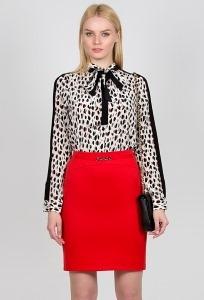 Прямая юбка красного цвета Emka Fashion 480-venedita
