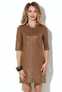 Короткое кожаное платье Donna Saggia DSP-209-57t