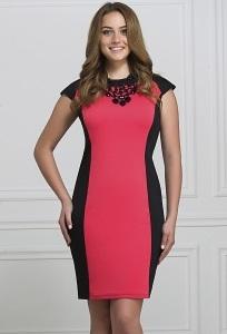 Чёрно-коралловое платье Rosa Blanco 3009