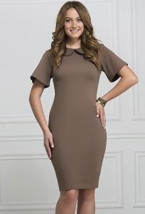 Коричневое платье с воротником Rosa Blanco 3078-30