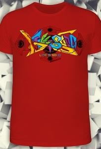 Красная мужская футболка Graffiti (Светится в ультрафиолете)