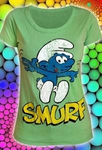 Салатовая женская футболка Smurf