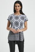 Лёгкая чёрно-белая летняя блузка 250087