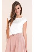 Белая летняя блузка из трикотажа Zaps Fabia